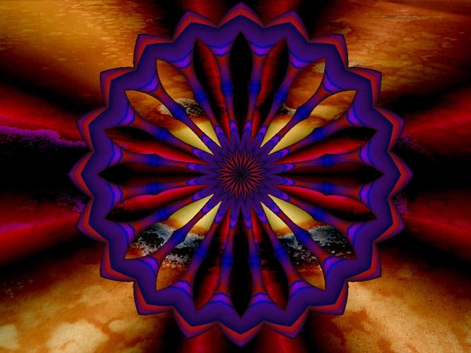 Lavafeld mit lila Pause