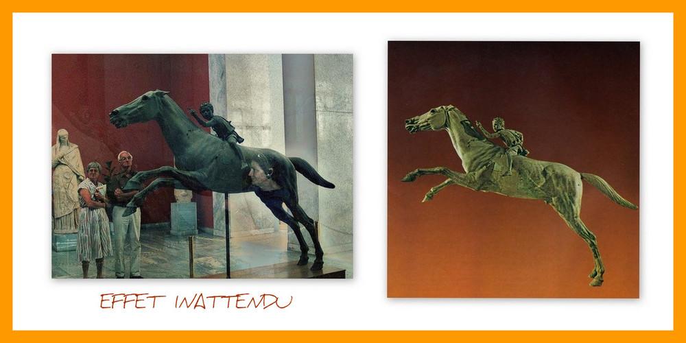 Le Cheval et le Jokey . sculpture du Musèe d ' Athenes
