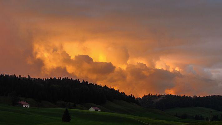 Le ciel un soir à Bellecombe
