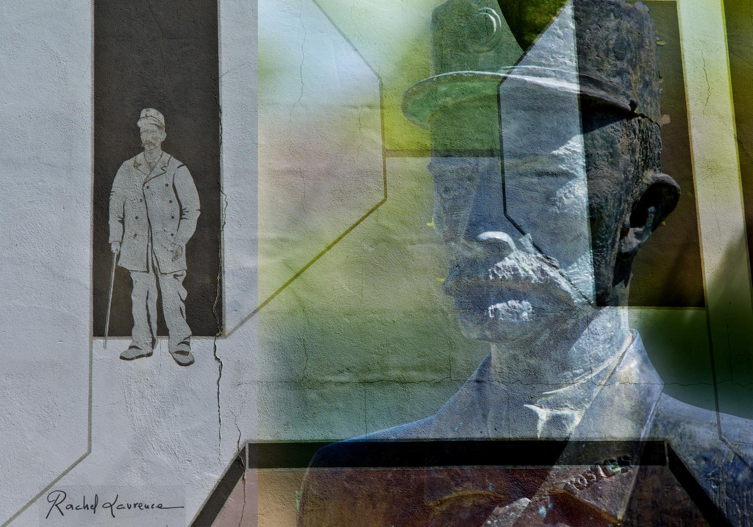 Le Facteur Ferdinand Cheval (photo réalisée à partir d'un buste et d'une peinture murale)