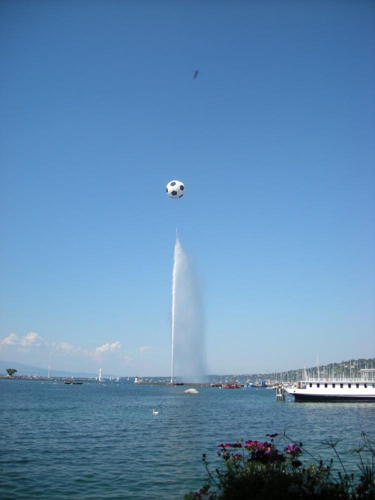 Le Jet d'eau décoré pour l'Euro 2008
