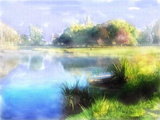 Le lac aquarelle