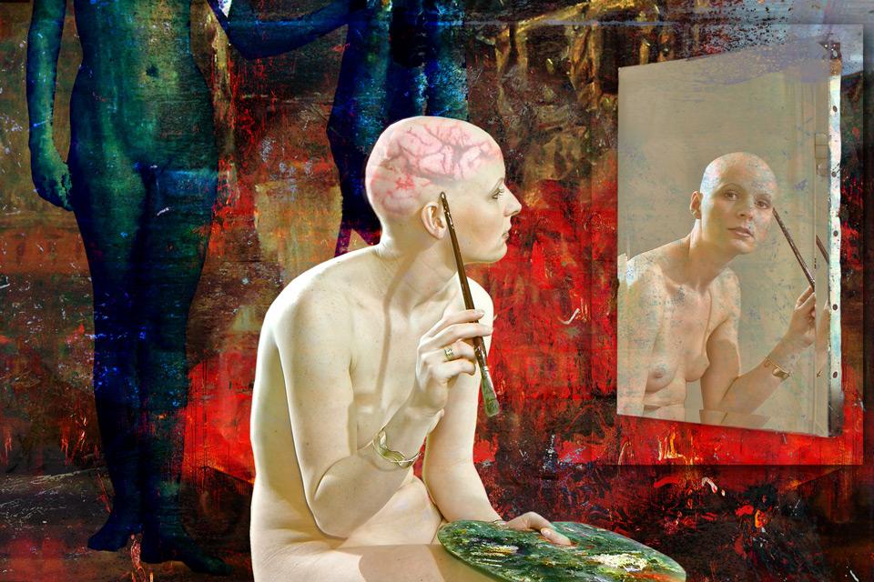 Le modèle, seul dans le studio, perdu dans ses pensées ... L'autoportrait