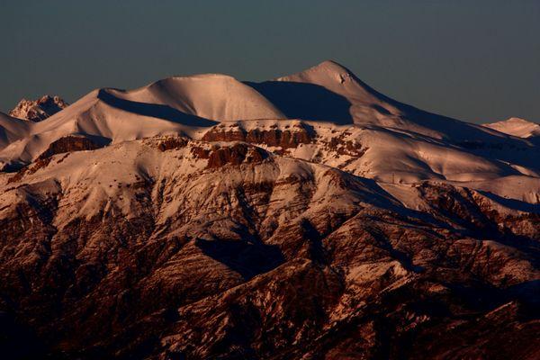 Le mont Mounier au coucher du soleil.