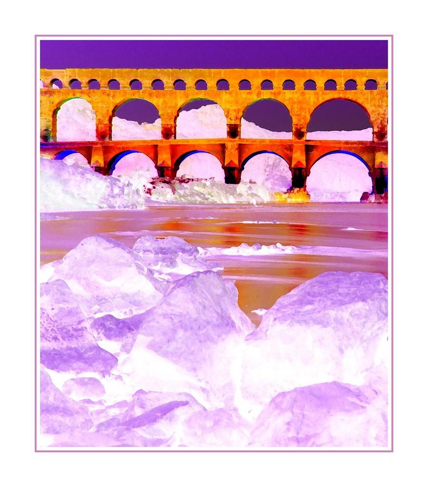 Le pont du gard et l'approche des glaces ...