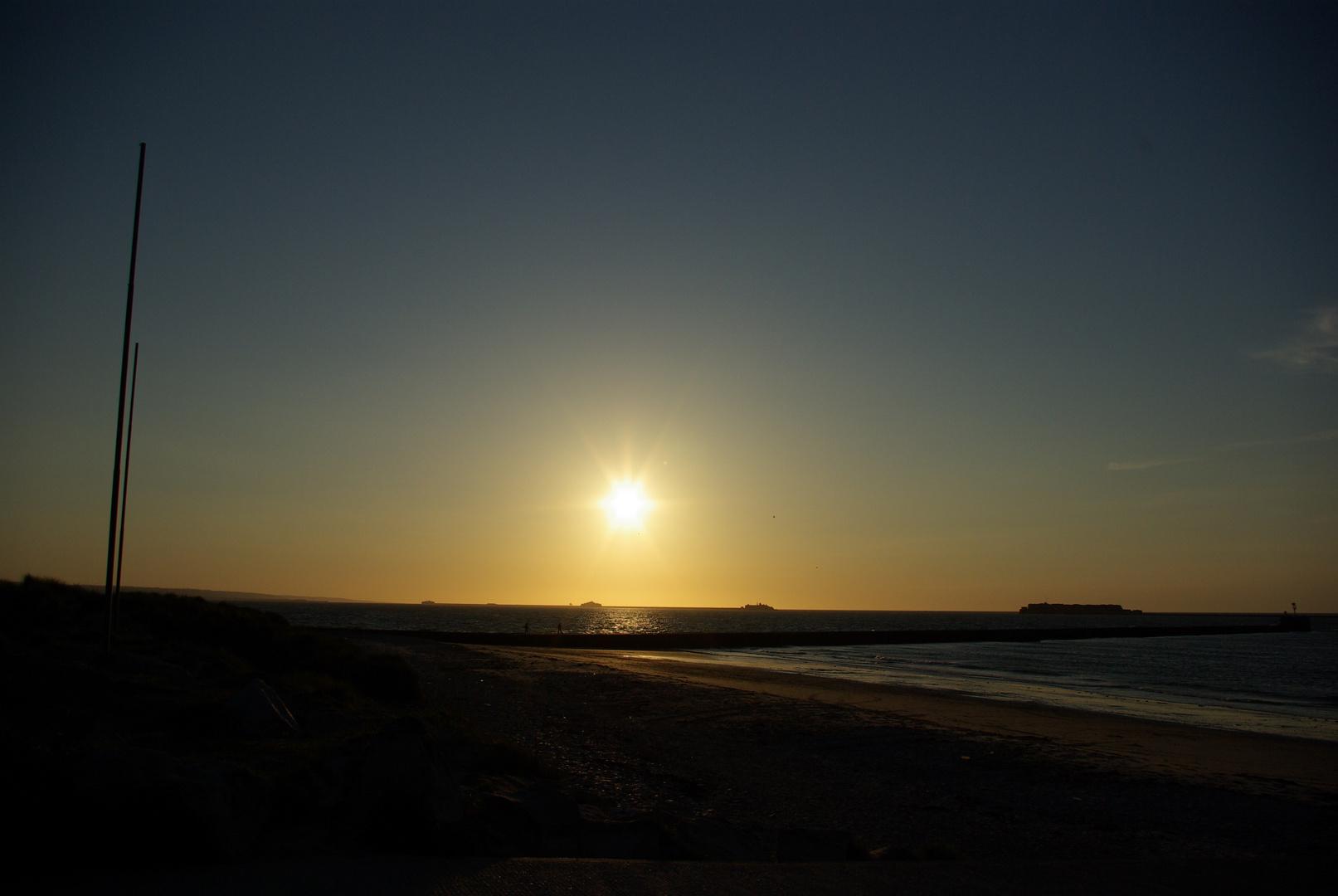 Le soleil à fleur d'horizon