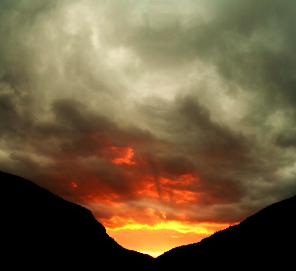 Le soleil pendant l'orage