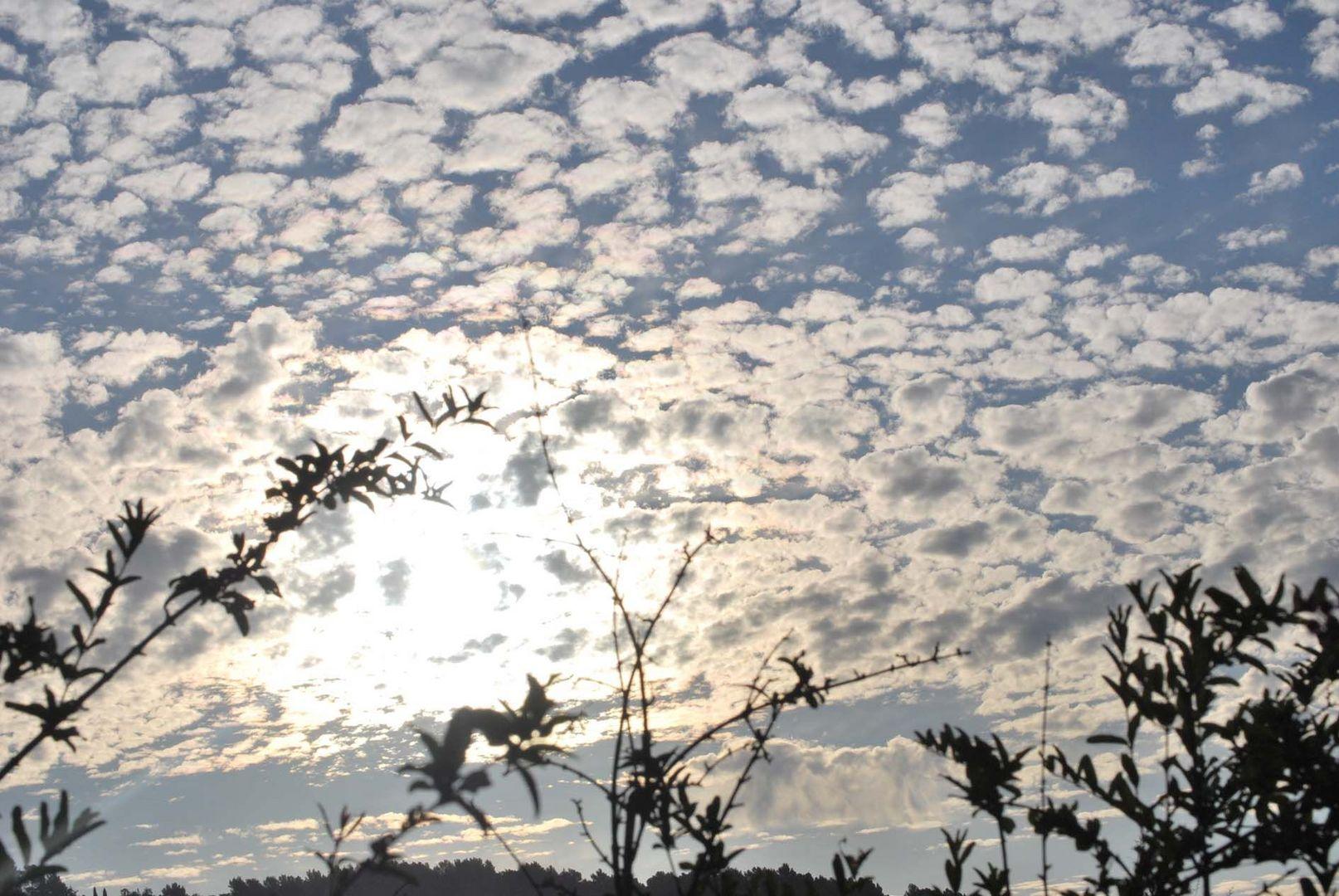 Le soleil se leve sur les hauteurs de Nice, mais le ciel est voilé.