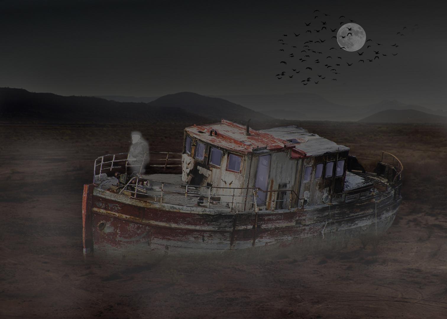 Le vieux bateau hanté par le fantome de son ancien capitaine ....