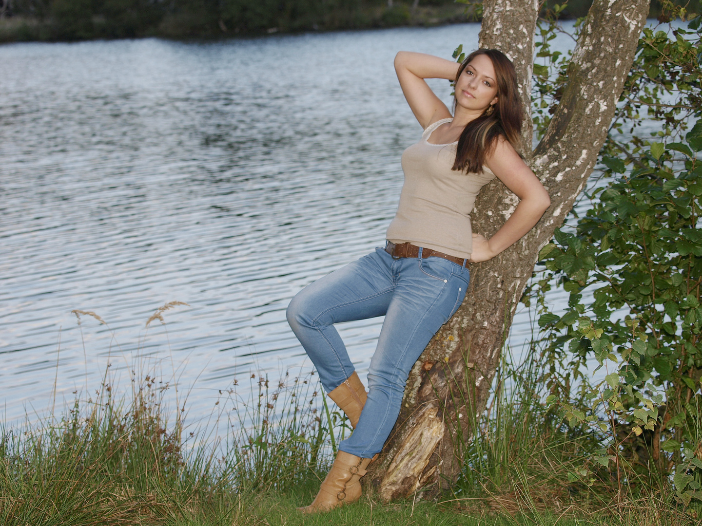 Leaning on a tree