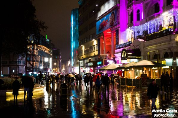 Leicester Square under the rain