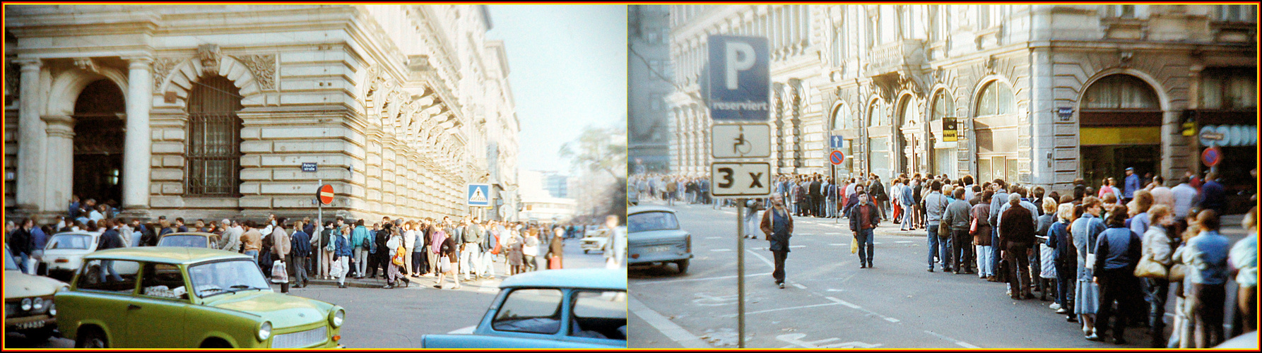 Leipzig, 10. November 1989: Visumstempel abholen