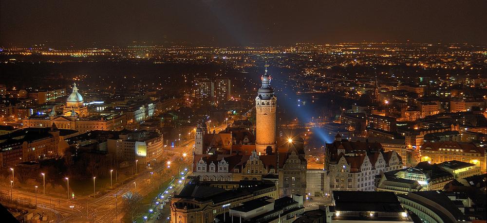 Leipzig bei Nacht Foto & Bild | architektur