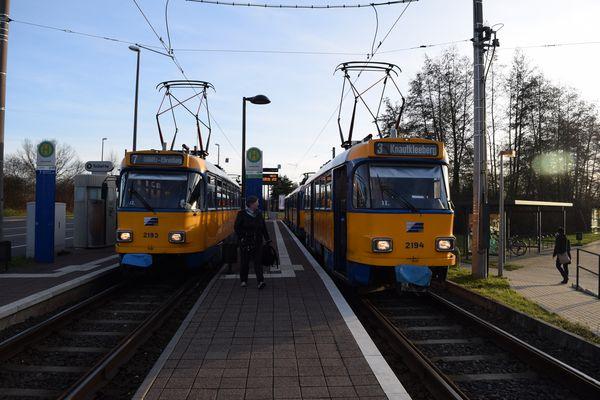 Leipziger Straßenbahn - Tatra im Doppel Endstelle Sommerfeld