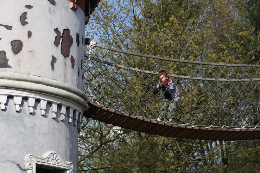 Leon auf der Hängebrücke ( Heide-Park)