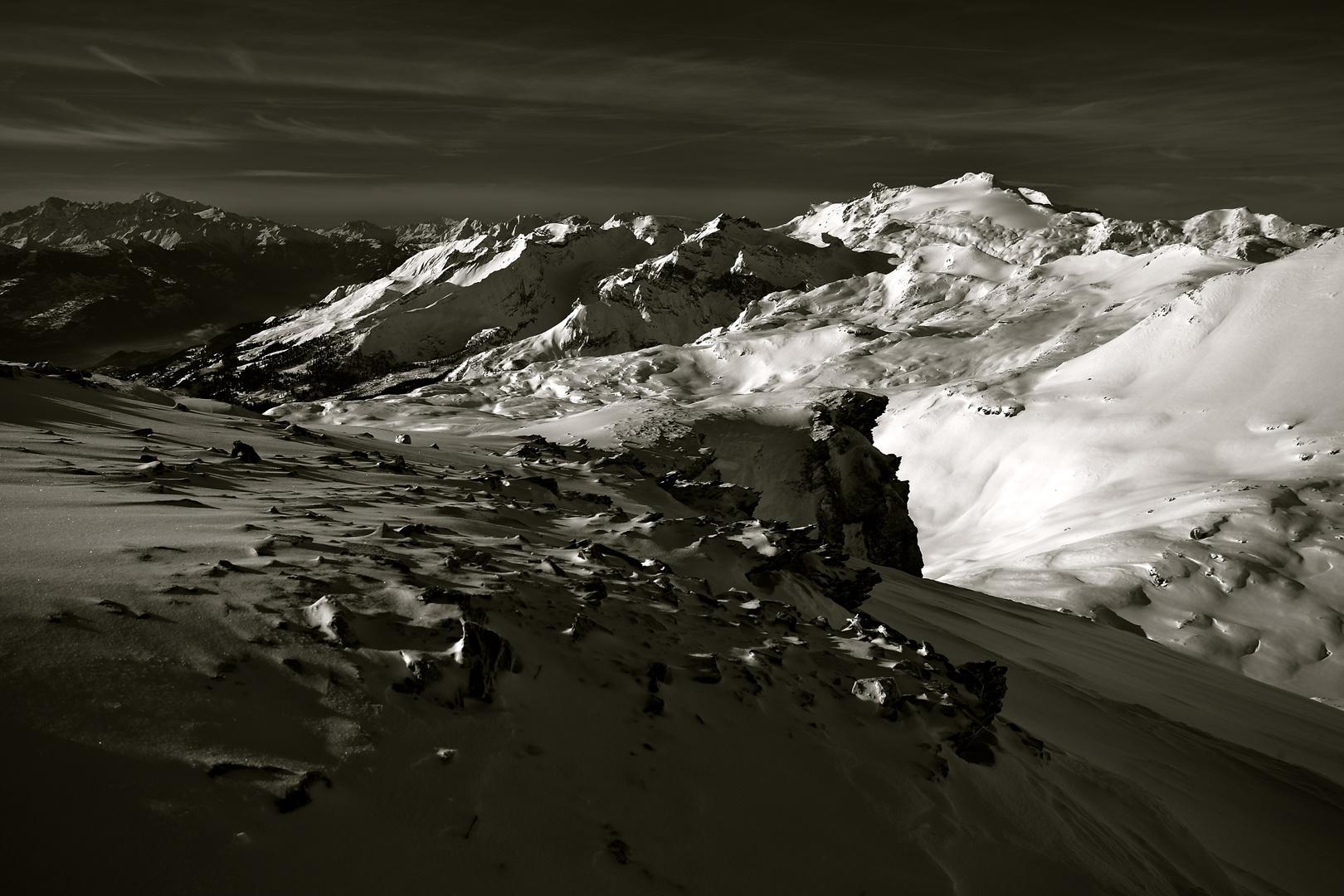 Les Alpes valaisannes, vues depuis la Plaine Morte.