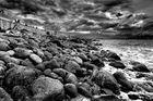 Les rochers de protection de la digue du port Tino Rossi à Ajaccio