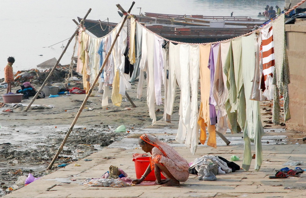Lessive au bord du Gange
