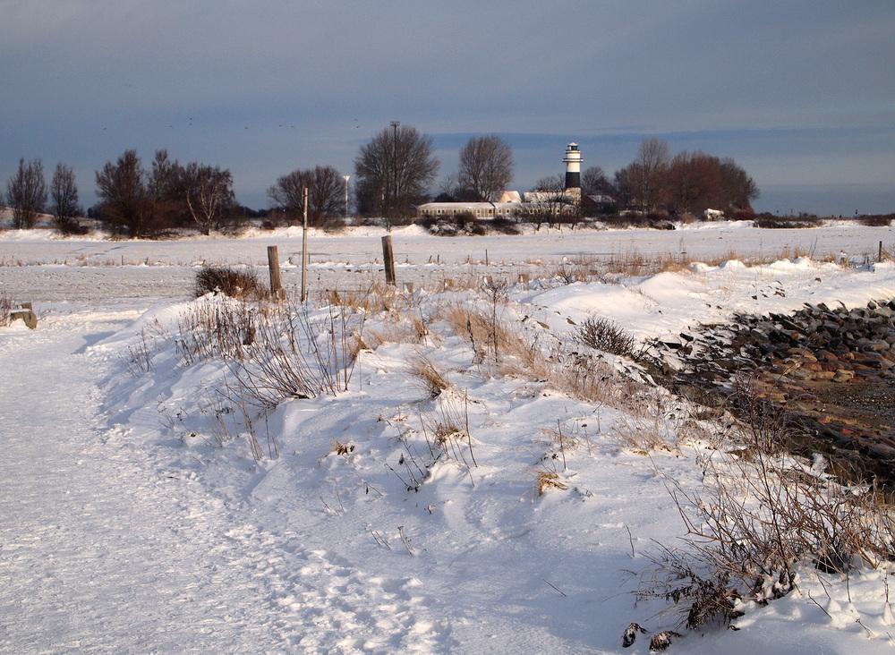 Leuchtturm Bülk im Schnee