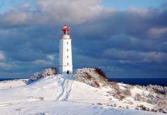 Leuchtturm Dornbusch im Schnee