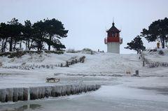 Leuchtturm Gellen im Winter