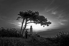 Leuchtturm in Schwarz-Weiß