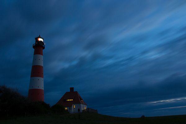 Leuchtturm Westerhever bei Nacht