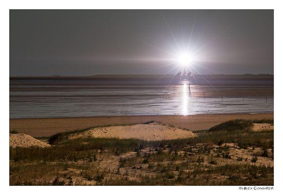 Leuchtturm Westerhever bei Vollmond