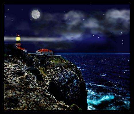 Leuchturm im Mondschein