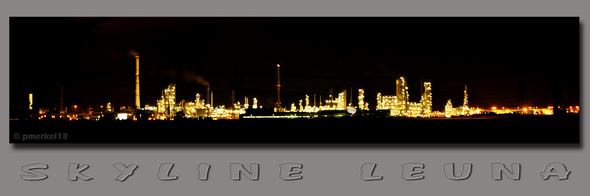 Leuna Werk bei Nacht