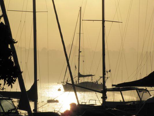 levée du jour au barrage d'Arzal (Morbihan)