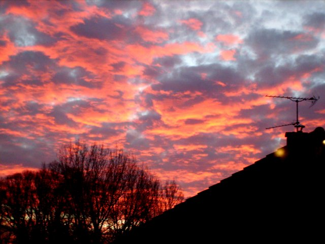 Levée du soleil, un matin d'hiver.
