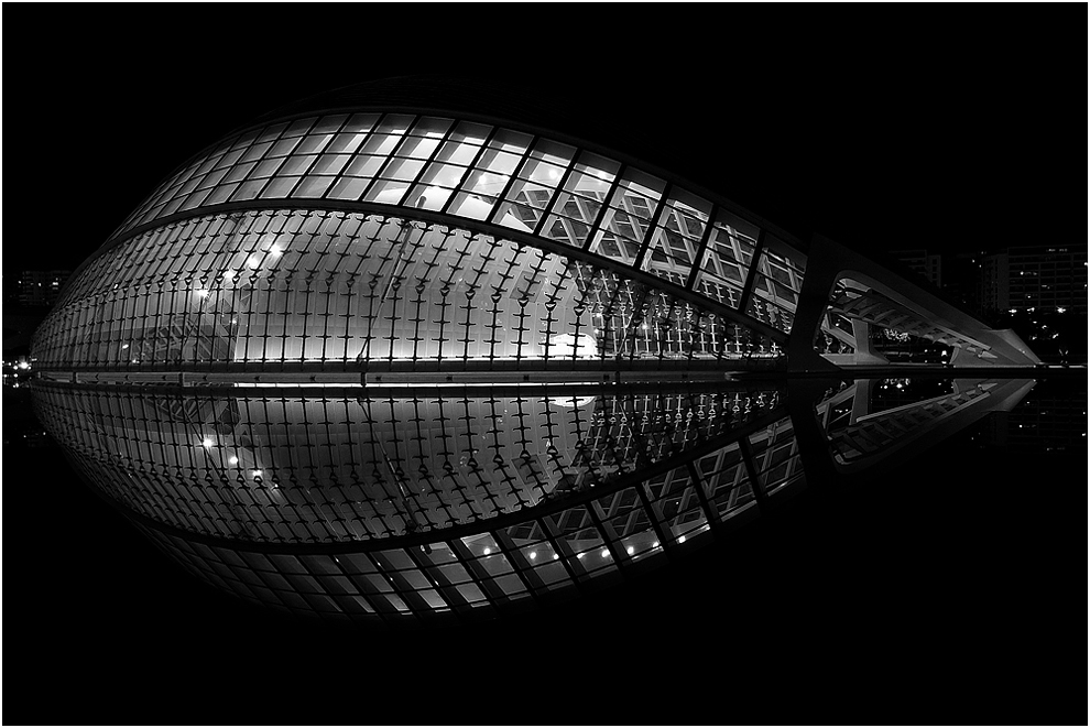 L'Hemisferic, de noche, b&n
