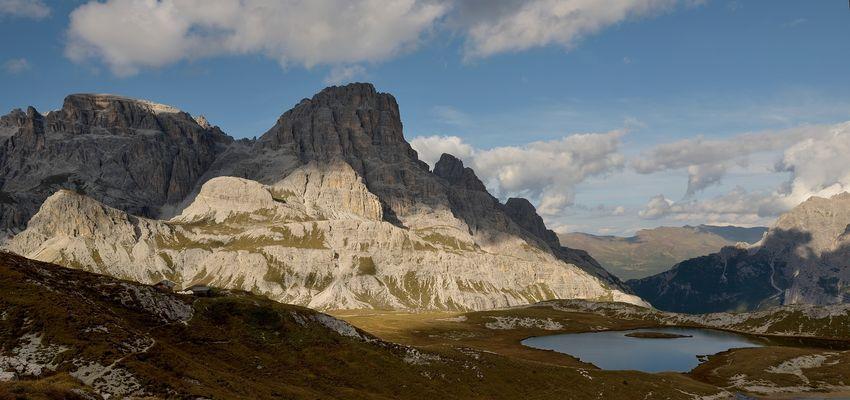 Licht-Schattenspiel an der Dreischusterspitze 3145 m, links die Schusterplatte 2957 m ...