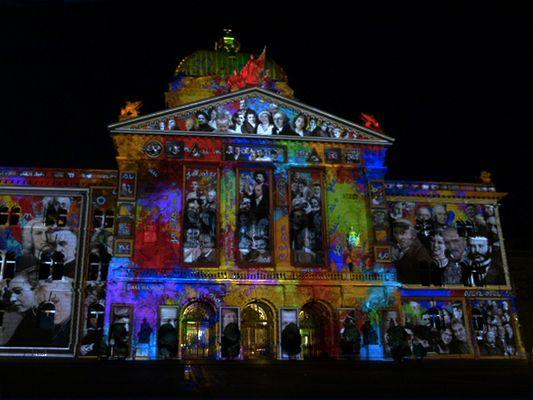 Licht- und Musikshow am Bundeshaus