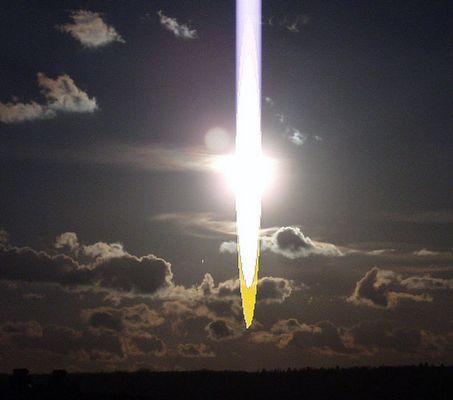 Lichtbalken im Himmel