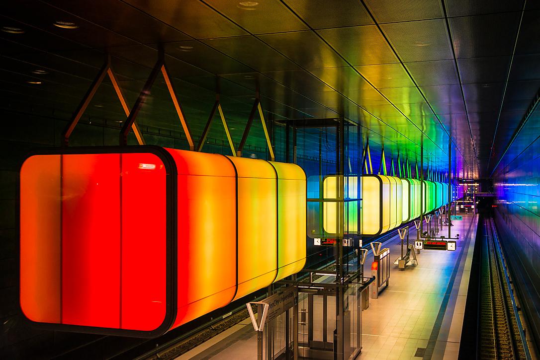 Lichtinstallation in der Hafencity Hamburg