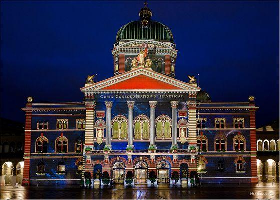 Lichtprojektion aufs Bundeshaus