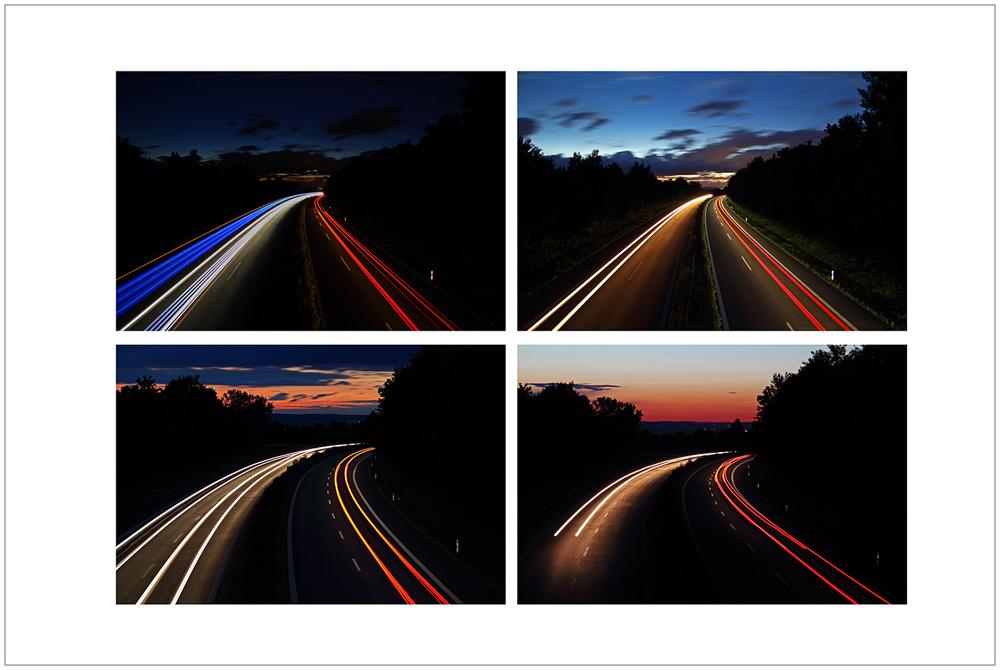 Lichtspuren auf der Schnellstrasse
