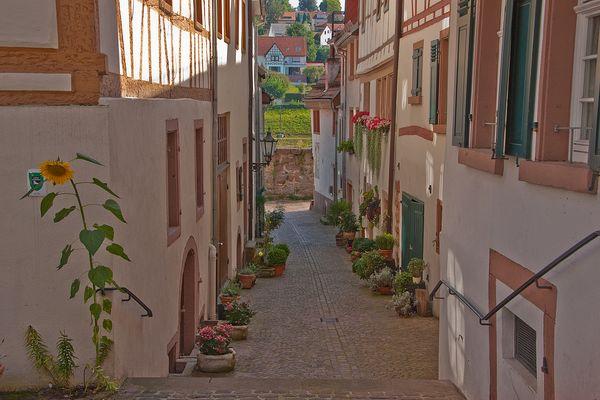 Liebevoller Blumenschmuck in der Altstadt von Hirschhorn
