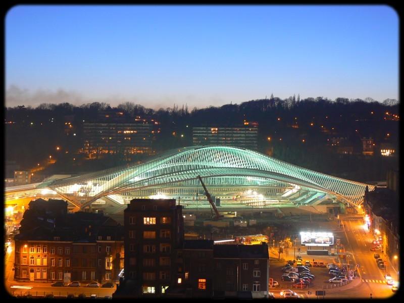 Liège Guillemins - gare Calatrava - janvier 2008 crépuscule
