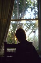 Liese on window, Pump Lane, London.