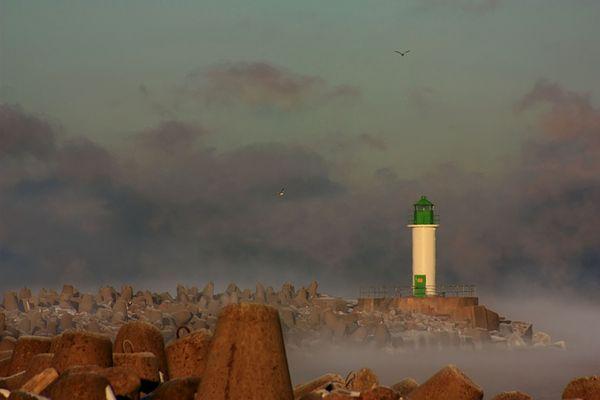 Lighthouse on a foggy day
