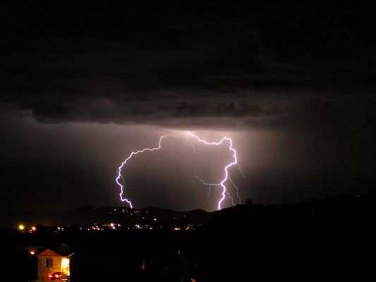 Lightning over Parc City, Utah