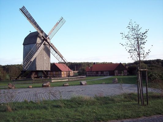 Lindhorster Bockwindmühle mit Backhus, Möllenhus und Scheunenhus