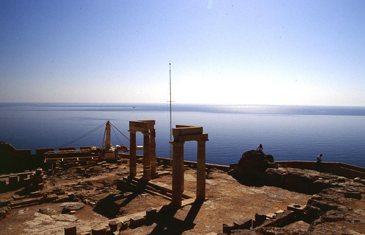 Lindos Meerblick mit Ruinen
