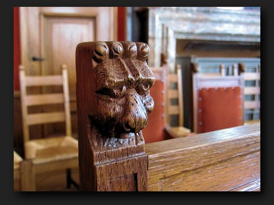 Lion's head of an old chair