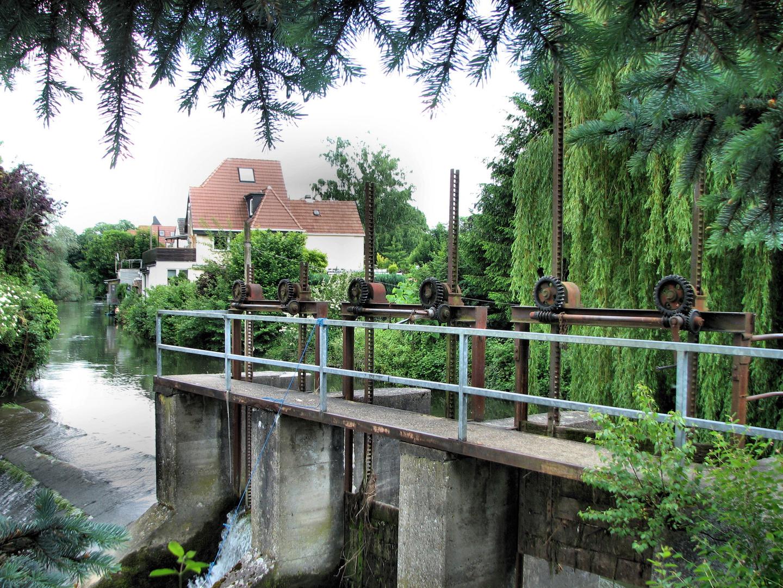 Lippeschleuse an der Burgmühle in Lippstadt