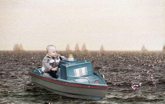 Little captain at sea