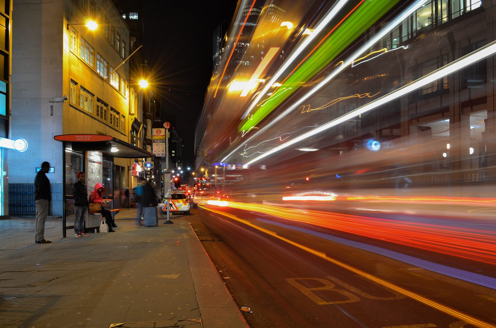 Liverpool Street London bei Nacht